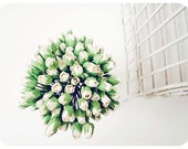 Mulberry Scrapbooking paper flower tiny ivory rose Buds for crafting, wedding decoration / pack