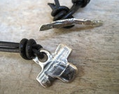 Rustic Artisan Cross Sterling Necklace Black Leather Strand