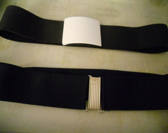 Vintage Elastic Band Belt Set of 2 - Great Belts from the 1970s - Basic Black and Classic Navy