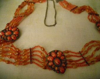 Hippie Beaded Belt - Orange Beads and Brass - Hippie and Hipster and Retro