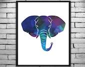 Geometric Bold and Royal Elephant Wall Art, Digital Print, DIY T-shirt Transfer - Instant Digital Download PLUS Transparency
