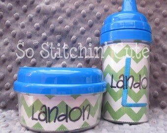 Green Chevron Sippy Cup and Snack Cup Set