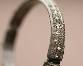 Vintage 1930s Rhinestone Cuff Wedding Jewelry Classy Bangle Bracelet Art Deco Bangle Bracelet