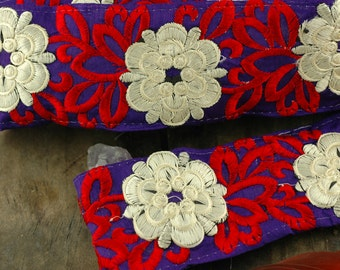 "Floral Delight:  Purple, Red, White Silk Trim, Ribbon, Sari Border, India 2 3/4""x1 Yard / Summer Craft, Wedding, Decorating, Sewing Supplies"