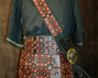 Armored War Skirt In Heavy Burgundy Dyed Vegetable Tanned Leather With Matching Baldric