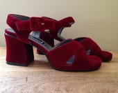 90s vintage scarlet red velvet unlimited platform strappy sandals evening heels 7US
