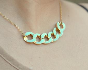 SALE - Modern Mint Chain Statement Necklace in Gold.  Statement Necklace. Modern Jewelry.  Mint Statement Jewelry.  Modern.