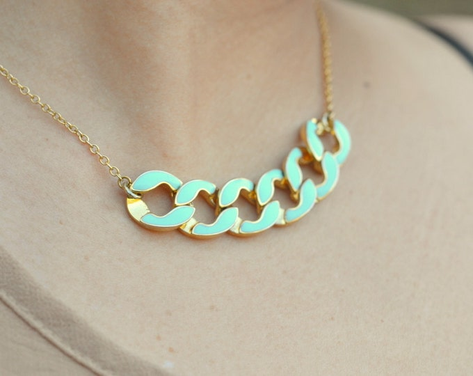 SALE - Modern Mint Chain Statement Necklace in Gold.  Statement Necklace. Modern Jewelry.  Mint Statement Jewelry.  Modern.