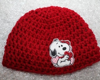 Newborn Baby Hat - Red Beanie with Snoopy Hat - Newborn Hat - Crochet Baby Hat - Ready to Ship