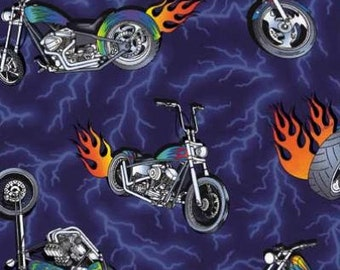 Harley MOTORCYCLE Fabric - Chopper & Hogs - LIGHTNING - Flames """"
