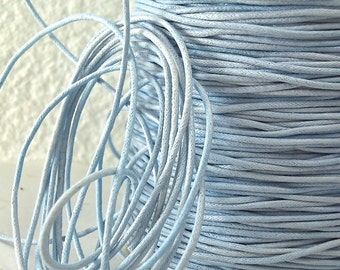 6yds Cord Waxed Cotton Blue 1mm Light Blue String Lace Jewelry twine 1mm Cord Macrame String for Bracelet and Necklace