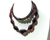 Black Cherry Bakelite Faceted Bead Necklace Pomegranate Red or Garnet Red