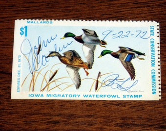 State Duck Stamp, IA1, Iowa 1972, Never Hinged, Signed, First Year