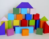 Building Blocks, Painted Brights, All Natural, Eco Friendly, Poplar Wood, Set of 25