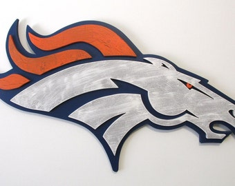 Denver Broncos logo handcrafted from wood