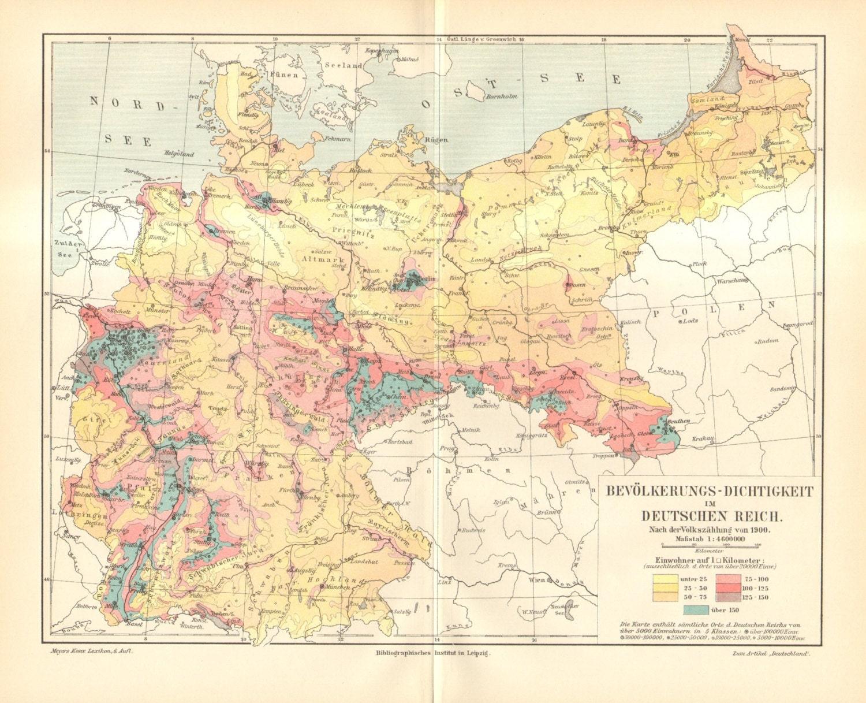 Original Antique Population Density Map Of The German - Germany map 1900