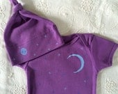 Moon and stars Baby Bodysuit and Baby Hat Set, Organic Cotton, American Apparel, Purple, Fun baby gift, Baby Shower Present, Monograms