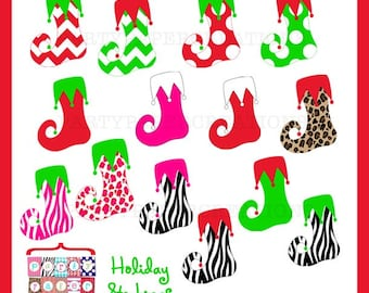 Christmas Stockings Clipart - Holiday Stockings Graphic Art - Animal Print - Chevron Stockings Clip Art - INSTANT DOWNLOAD