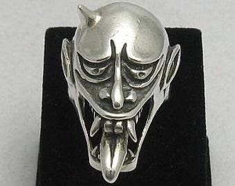 R000259 STERLING SILVER Ring Solid 925 Skull Devil Biker Gothic
