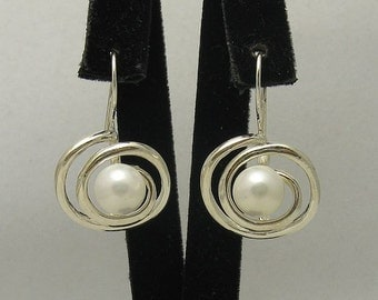 E000223 Sterling Silver Earrings Solid Spiral Pearl 925