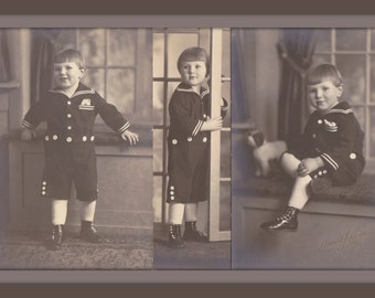Lovable Sailor Boy- 1920s Antique Photographs- SET of 3- Cute Kid in Nautical Outfit- Old Photo- Studio Portraits- Paper Ephemera