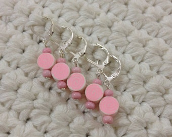 Removable Stitch Markers Swirls - 5 Round Pink Stitch Markers for Crochet and Knitting