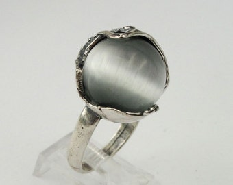 Reserved for Micaela -  Hadar Fabulous Large Cat's Eye Sterling Silver Israel Handcrafted Ring (h 150)