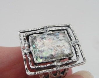 New Israel Handmade Art 925 Sterling Silver Roman Glass Ring any size, Birthady gift, Antique silver ring, Square silver ring  (as 903306)