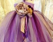 READY TO SHIP Purple & Champagne Gold Boutique Tulle Tutu dresses with headband size 2-4T