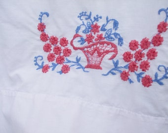 Cotton Pillowcase Coral Blue Flowers  Basket Standard Size