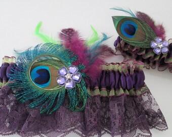 Purple & Lime Wedding Garter Set, Peacock Garters, PLUM Lace, Eggplant, Amethyst Purple Garter, Purple PROM Garters