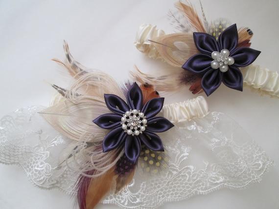 Plum Purple Wedding Garter Set Peacock By NakedOrchidGarters
