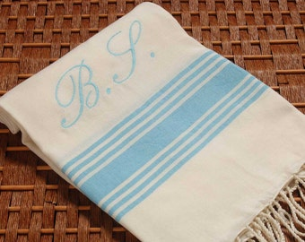 SALE %50 OFF Personalized Turkish Towel Bamboo Peshtemal Light Blue - So Soft and Light - Highly Absorbent