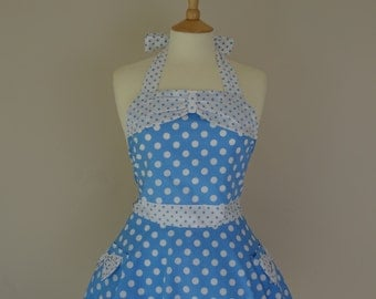Retro apron with bow, circle skirt, white polka dots on a blue fabric. 1950s inspired.