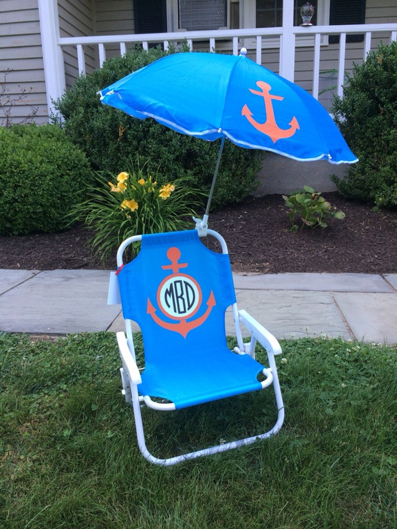 personalized child 39 s beach chair with umbrella. Black Bedroom Furniture Sets. Home Design Ideas