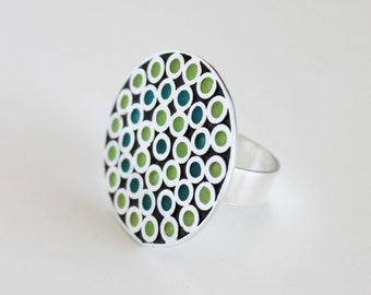 Handmade sterling enamel ring - Lime turquoise enamel - huichol ring - modern ring