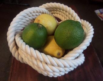 "Cotton Rope Bowl Basket 7 x 5 "" Nautical Decor Knotted Nautical Nursery Free Shipping"