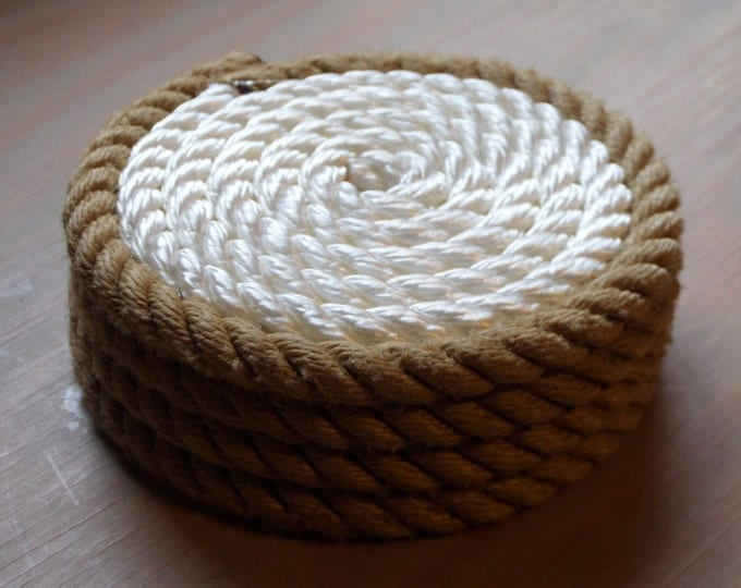 Set of 4 Rope Coasters Nautical Decor White with Tan Trim Beach