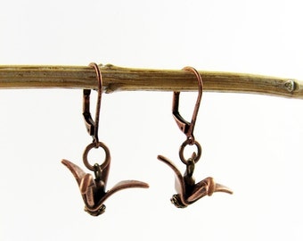 Crane Earrings for Peace (Symbolic Origami Jewelry with Japanese Flying Bird)