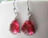 Ruby Teardrop Silver Bridal Earrings Glass Dangle, Bridesmaids, Wedding, Teardrop Earrings, 14K Gold Filled Wire, Drop Earrings