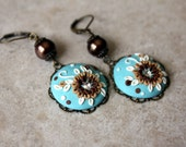 Lovely Floral Clay Applique Earrings in Aqua,  Brown and Beige with Swarovski Crystals