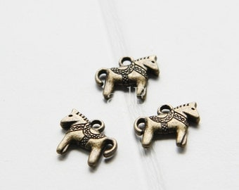 20pcs / Charm / Antique Brass / Base Metal / Rocking Horse 14x12mm (YB11796//O200B)
