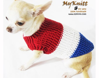 Red White and Blue Knitted Dog Sweater XXS 4th Of July USA Patriotic Chihuahua Clothes Cat Shirt Cotton DK953 Myknitt - Free Shipping