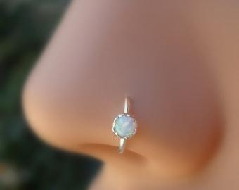Nose Ring Hoop - Tragus Ring - Cartilage Earring - Helix Piercing - Sterling Silver With 3 mm White Opal 7 mm Inner Diameter Hoop