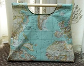 knitting bag - map knitting bag - knitting purse - project bag - project purse - sewing bag - craft bag - craft sac