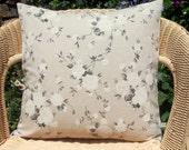 """SALE linen look pillow cover - natural pillow cover - rose pillow cover- decorative pillow cover- white flower pillow - 18"""" pillow"""