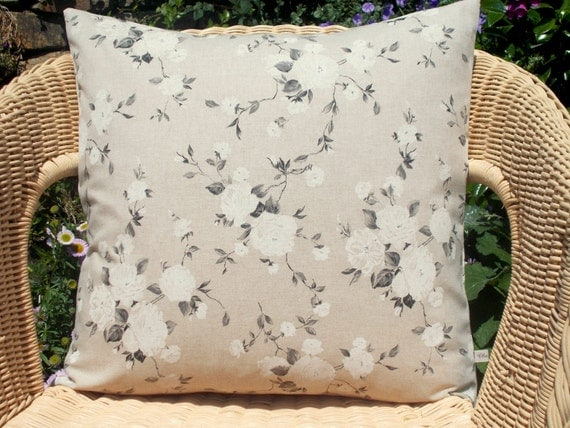 SALE linen look pillow cover natural pillow cover rose