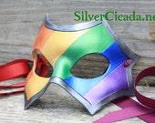 Leather Gay Pride Mask Metallic Rainbow Great for Halloween Burning Man Masquerade Costume LARP Cosplay Mardi Gras