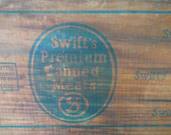 Vintage Wooden Crate/ Swifts Crate/ Meat Crate/ Wedding Wooden Crate/ Wedding Card Crate/ Wedding Card Box/ SALE 10 DOLLARS OFF Was 39.99