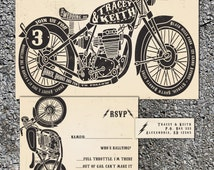 Motorcycle Wedding Invitations - Biker Bride -  Wedding Invitation Set - Chopper Invite - Sample